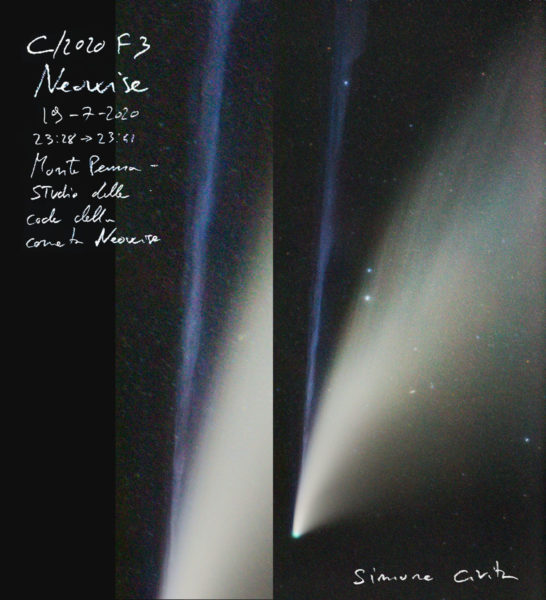 Studio delle code della cometa Neowise. Monte Penna Simone Civita