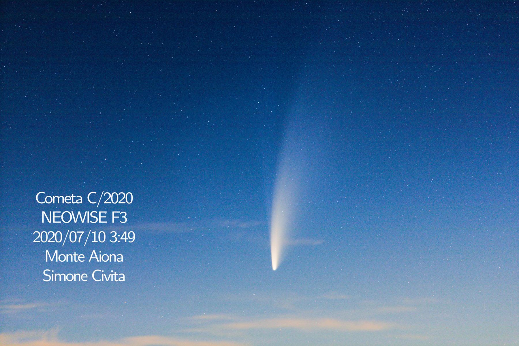 Scatto singolo orizzontale 200mm. Cometa Neowise 2020 Monte Aiona Simone Civita