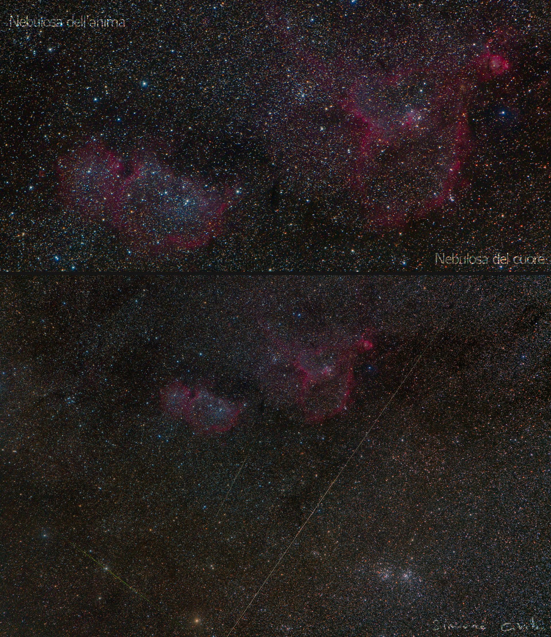 Nebulosa Cuore, Nebulosa Anima. Riprese dal Monte Penna 2020 30s x 236 175mm f2.8 iso 3200. Simone Civita