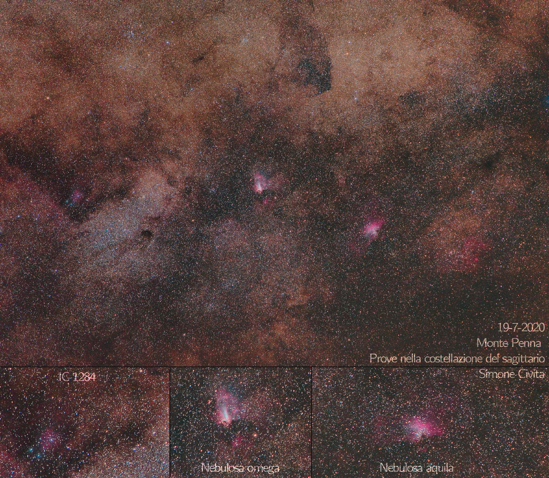 Nebulosa omega e aquila IC1284 e piccola nube del sagittario